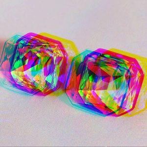 VTG Gold Rhinestone 80s Square Clip On Earrings